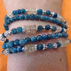 bracelet 5 rangs apatite bleue et citrine
