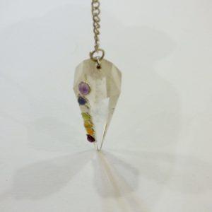 Pendule cristal de roche ,7 chakras