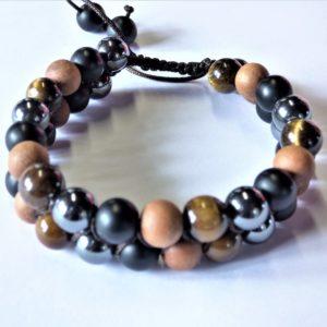 Bracelet bois de santal,œil de tigre ,hématite et salagram sila.